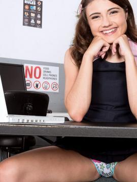 Hot coed Adria Rae strips for you in the computer lab