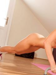 Teen hottie Gina Gerson gets hot while she works out and starts removing clothes