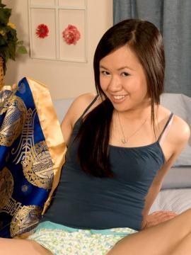 Asian coed Ava Lee strips for you in bed