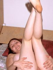 Busty brunette Sarah gets naked and masturbates for you