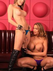 Pictures of Alanah Rae sharing a cock with her friend