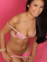 Hot asian model Ashley P gives you a sexy tease in her pink bra and panties