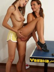 Hot teens Eufrat and Promesita get horny while playing ping pong