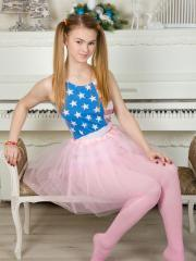 """Blonde teen Cute strips out of her tutu and tights in """"With Twist"""""""