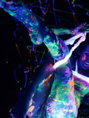 Andi Land gets super kinky with the black light and neon body paint