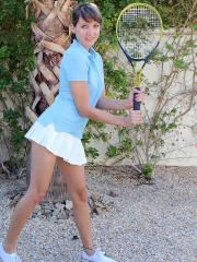 Brunette teen Andi Land shows you what's up her tennis skirt