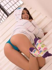 Pictures of hot teen girl Andi showing you the stairway to heaven