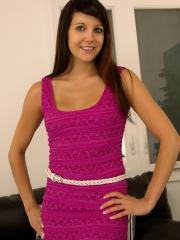 Pictures of stunning girl Andi dressed in hot pink dress