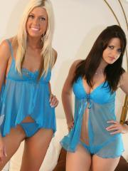 Ann and Tiffany dress up in sexy lingerie and get it on