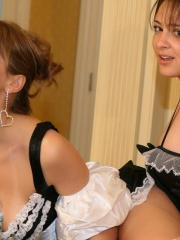 Pictures of Ann and Annabelle getting naughty as maids in the kitchen