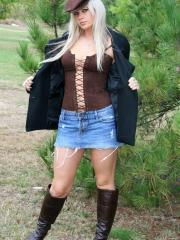 Ann Angel teases in her jean miniskirt and corset top