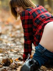 Ariel Rebel dresses as a sexy lumberjack and flashes