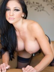 Pictures of Audrey Bitoni showing her hot body on the couch