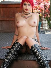 Sexy Gothic babe outside in boots and nothing else