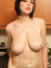 Pictures of Louisa getting messy in the kitchen