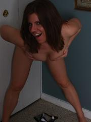 Pictures of Blueyed Cass stripping out of her pajamas