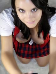 Bryci dresses up as a naughty schoolgirl, blindfolds herself and gives a pov blowjob