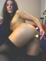 Brunette girl Bethany masturbates with her various dildos on cam