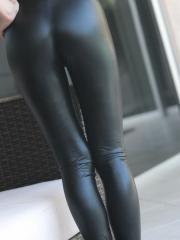 Pictures of Catie Minx stripping out of her sexy black leather pants