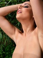 Charley S reveals her big natural boobs outside