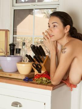 Brunette hottie Jessem gets naked in the kitchen