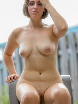 Karly Peters strips out of her little bikini outside