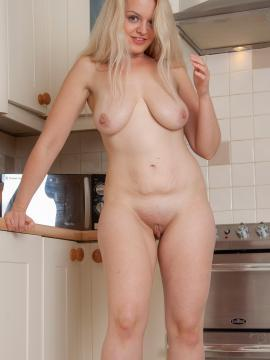 Laura Hall gets naked in the kitchen