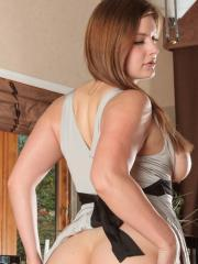 Danielle FTV lifts her grey dress to toy her wet pussy