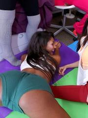 Horny college girls throw a wild sex party in the dorm room