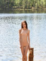 """Brunette teen Lapa shows off her petite body outside in """"In Nature"""""""
