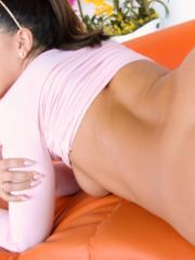 Brunette coed Adriana Chechik spreads her legs for you