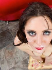 Brunette babe Samantha Bentley gets on her knees for a hot pov blowjob