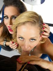 Cherie Deville and Jessica Jaymes give an amazing double pov blowjob