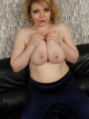 Curvy babe Freya strips out of her bra and fondles her natural big tits