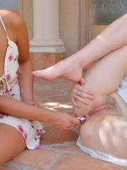 """Hot teens Violet and Eva stuff each other's holes in """"Colorful Kinky"""""""