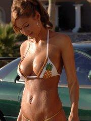 Pictures of Amy Reid washing her car in a bikini