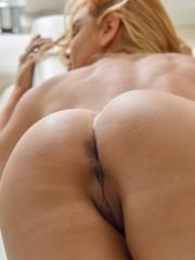 Blonde babe Sandy masturbates with her various toys
