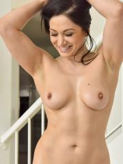 """Brunette girl Lea masturbates with a big blue dildo in """"Size Does Matter"""""""