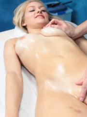Sweet blonde girl Alli is seduced and fucked hard by her massage therapist