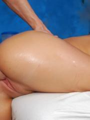 Hot 18 year old blonde receives a HARD fuck from her massage therapist