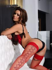 Gemma Massey in her sexy red lingerie and stockings looking hot