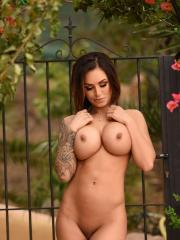 Gemma Massey getins naked from her pink top and panties