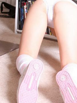 Perky girl next door Dakoda teases topless before she strips down to just her knee high socks and runners