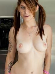 Beautiful girl Haiely Leigh strips for you in the kitchen