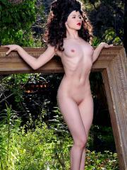 "Pinup model Mosh strips outside for you in ""Strawberry Fields"""