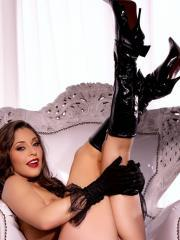 Pictures of Gracie Glam all glammed up in black lingerie and boots