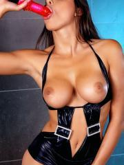 Pictures of Zafira masturbating in her dominatrix outfit