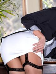 Brunette secretary Rahyndee James masturbates on top of your desk