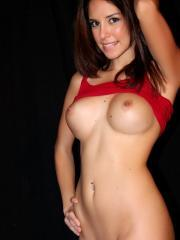 Pictures of Hunter Leigh giving a striptease in a red shirt and white panties