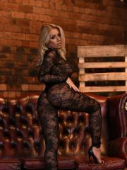Blonde babe Stacey Robyn strips from her lace bodysuit